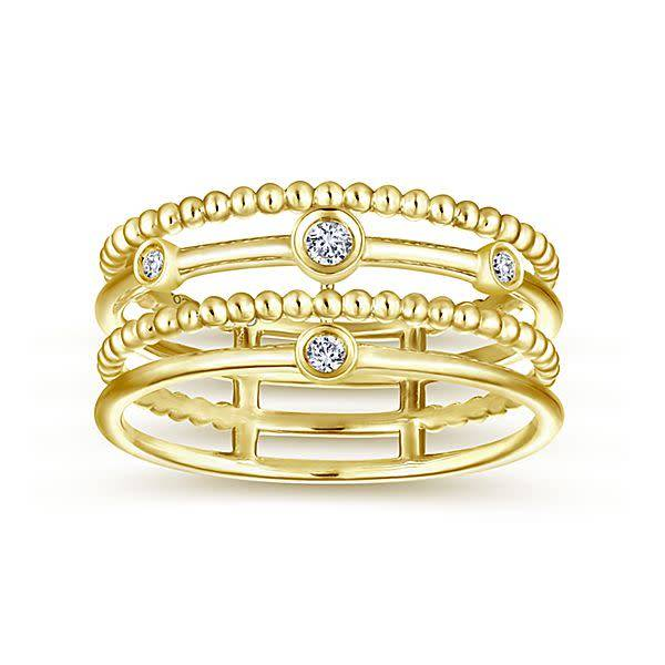 Wide gold diamond ring