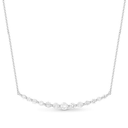 14kt gold curved diamond bar necklace