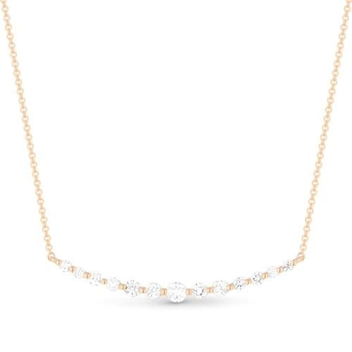 Madison L 14kt curved diamond bar necklace
