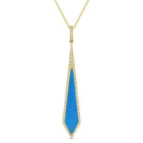 14kt yellow gold turquoise drop necklace