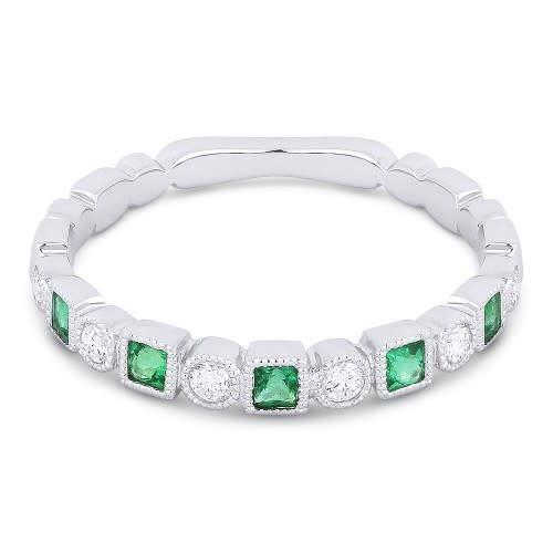 Madison L Alternating Diamond & Emerald Band