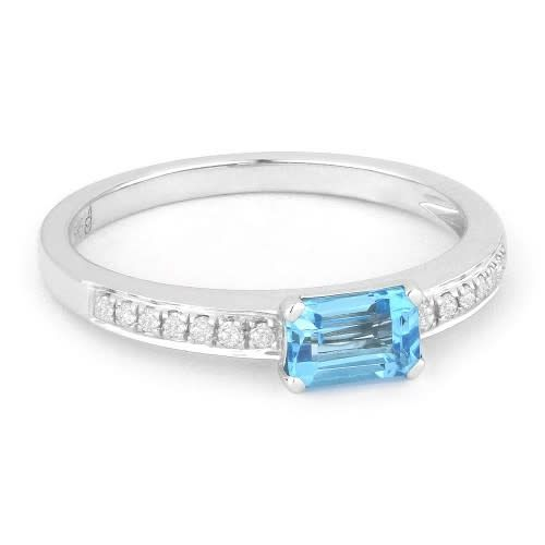 Blue Topaz Ring with Diamond Accents