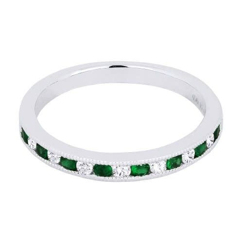 Madison L Alternating Round Diamond and Emerald Band