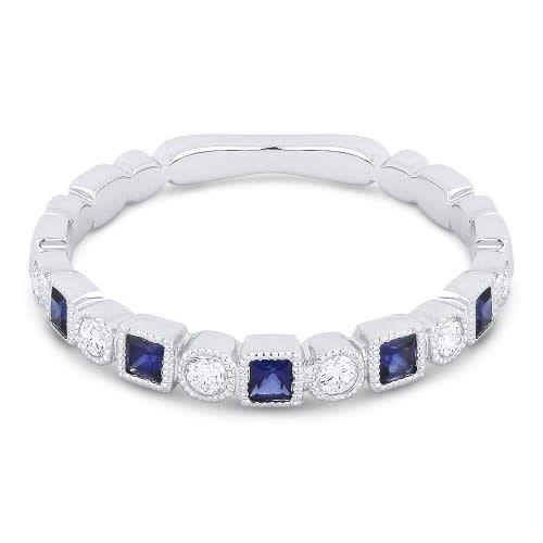 Alternating Diamond Sapphire Band