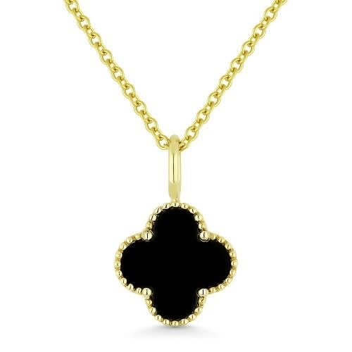 Madison L Black Onyx Quatrefoil Necklace