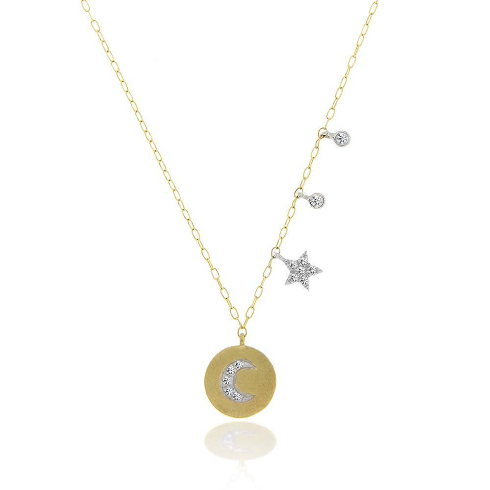 Diamond Moon Disc and Star Necklace