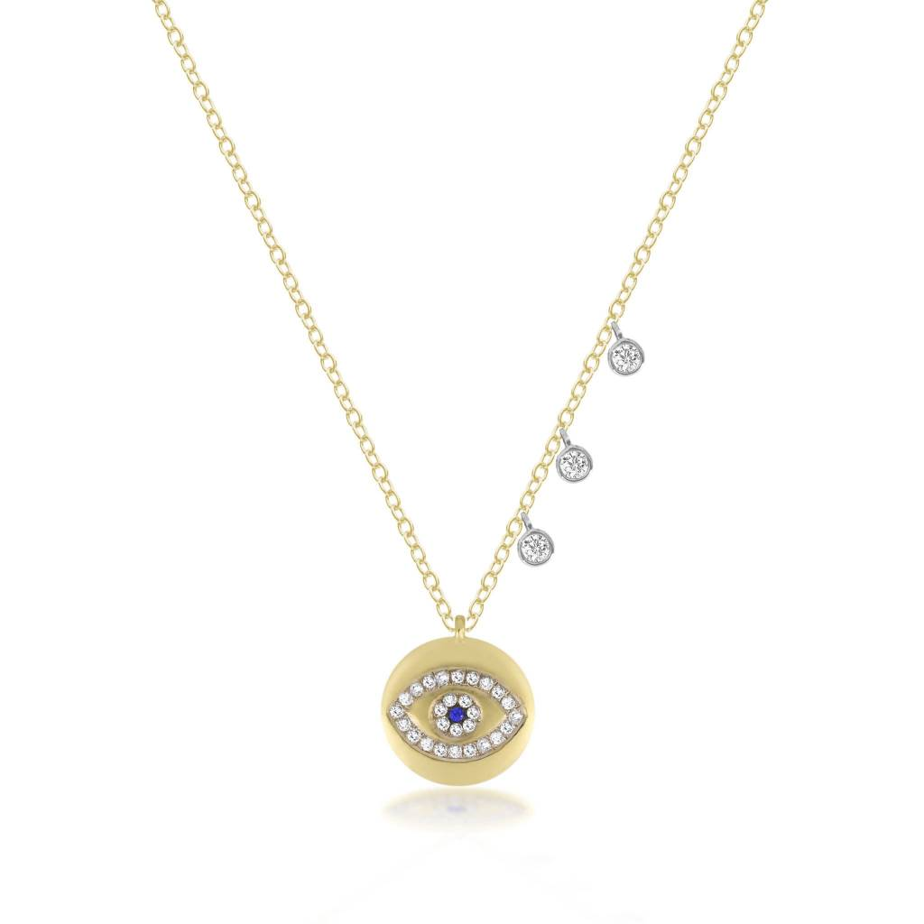 Meira T 14kt Yellow Gold Evil Eye Diamond Necklace