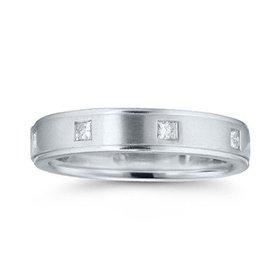 Princess Cut Burnish Set Diamond Band