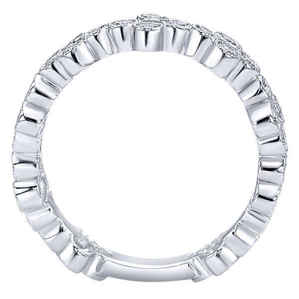 Gabriel & Co Wide bezel set stackable diamond band