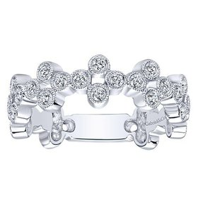 Wide bezel set stackable diamond band