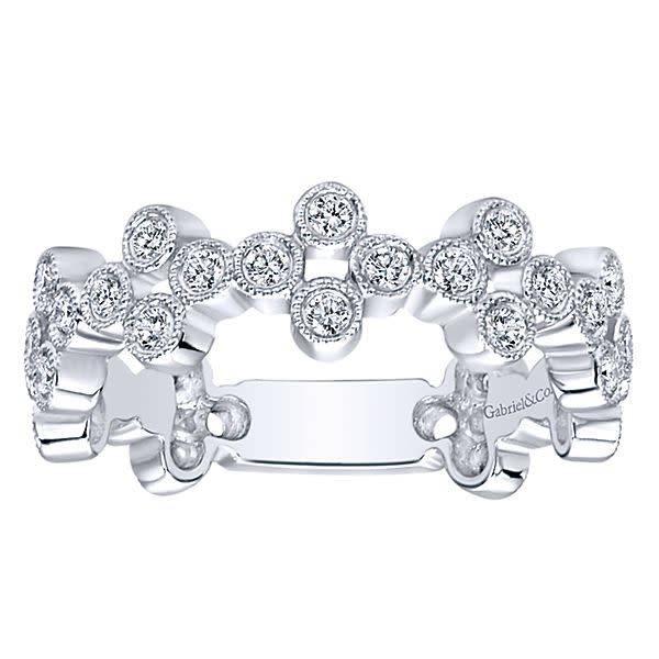 Wide bezel set stackable diamond band