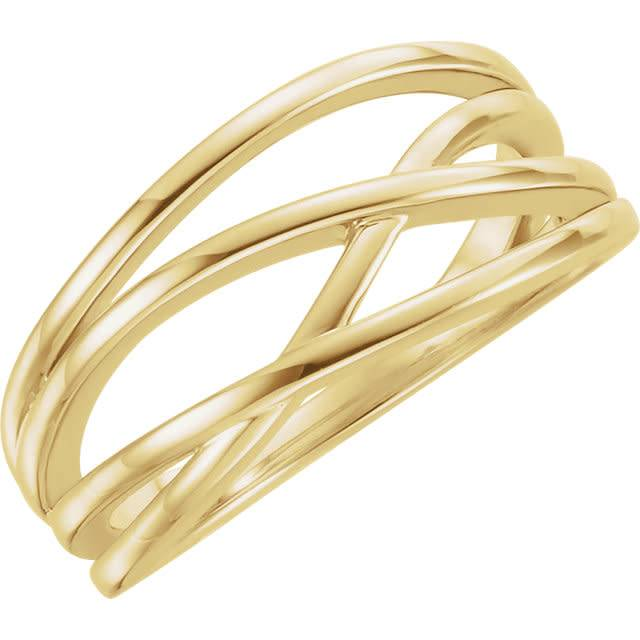 14kt yellow gold criss cross ring