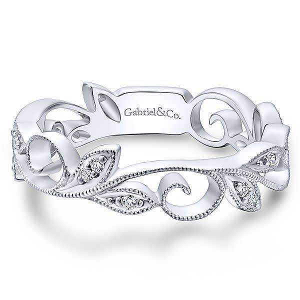Gabriel & Co LR4593 vine style diamond band