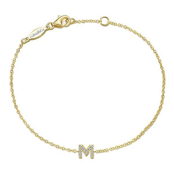 Gabriel & Co TB4033 14kt yellow gold diamond initial bracelet
