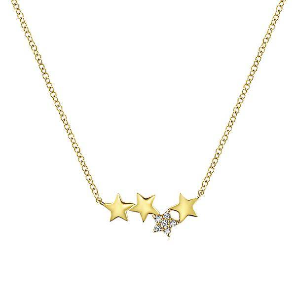 Gabriel & Co NK5717 14kt yellow gold star necklace