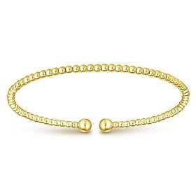 BG4107 14kt yellow gold ball bangle bracelet