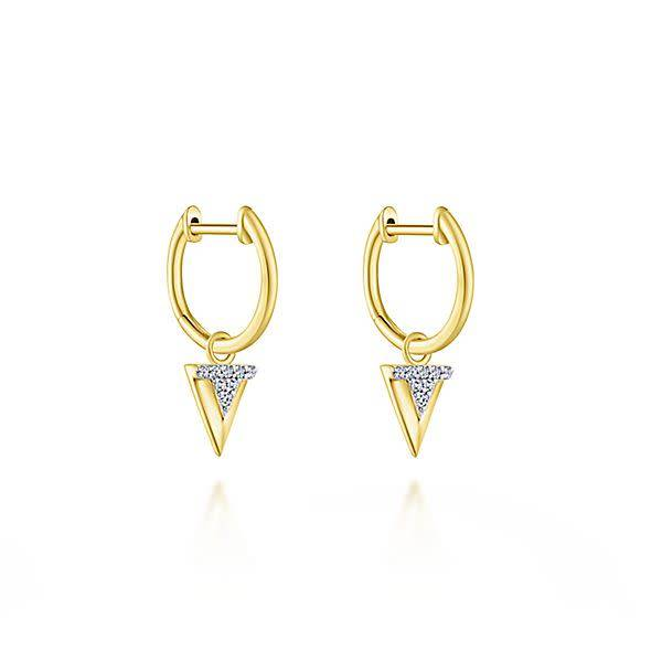 EG13334 Yellow Gold Huggie Drop Earrings