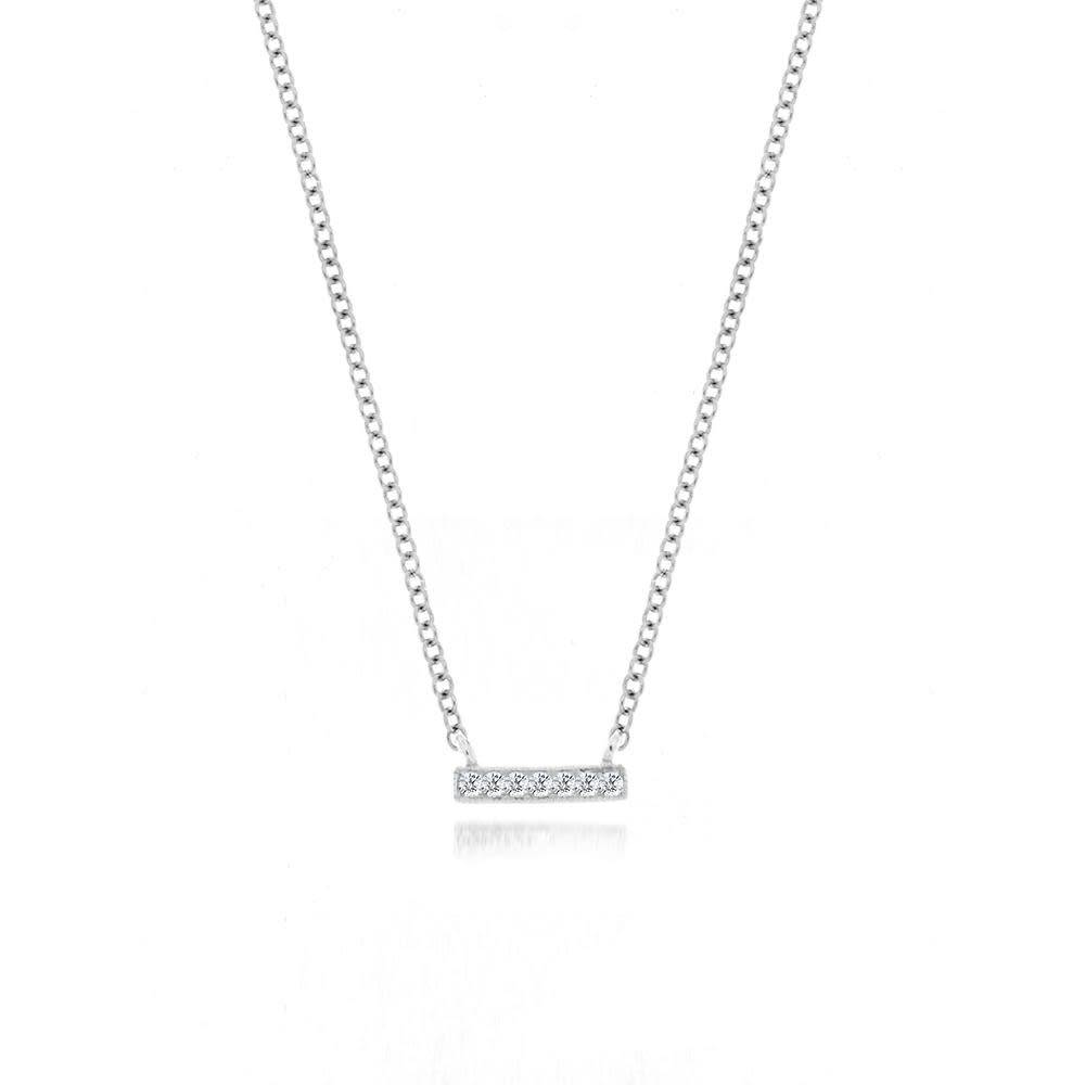14kt white gold mini diamond bar necklace