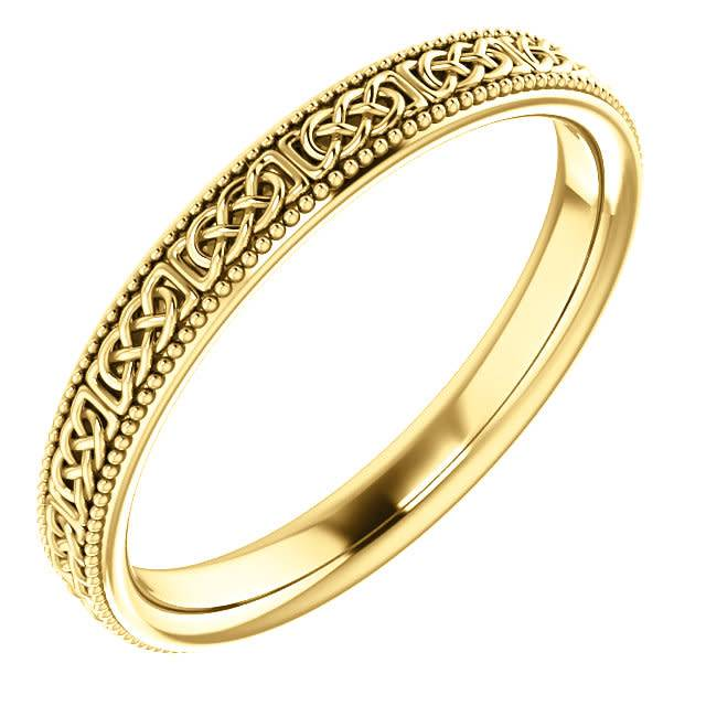 Stuller 3mm 14k gold celtic milgrain band