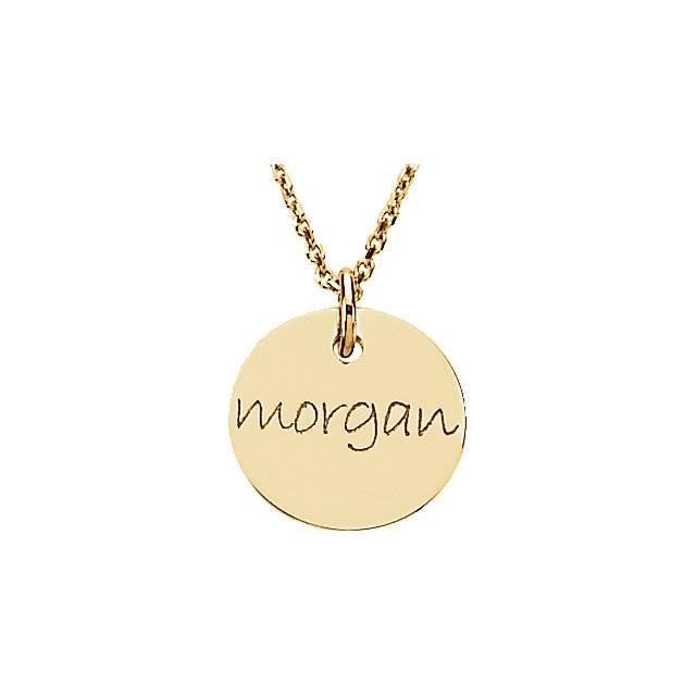Stuller 14kt gold engraved mini disc pendant