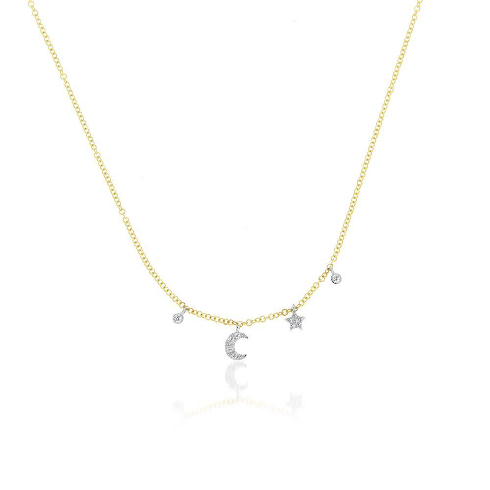 Meira T N10404 mini moon and star bezel necklace
