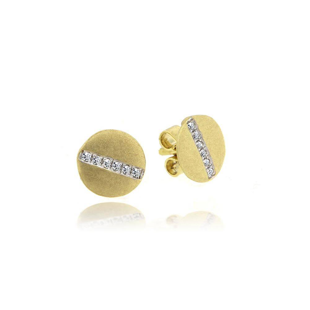 Meira T E10053 Brushed Yellow Gold Studs
