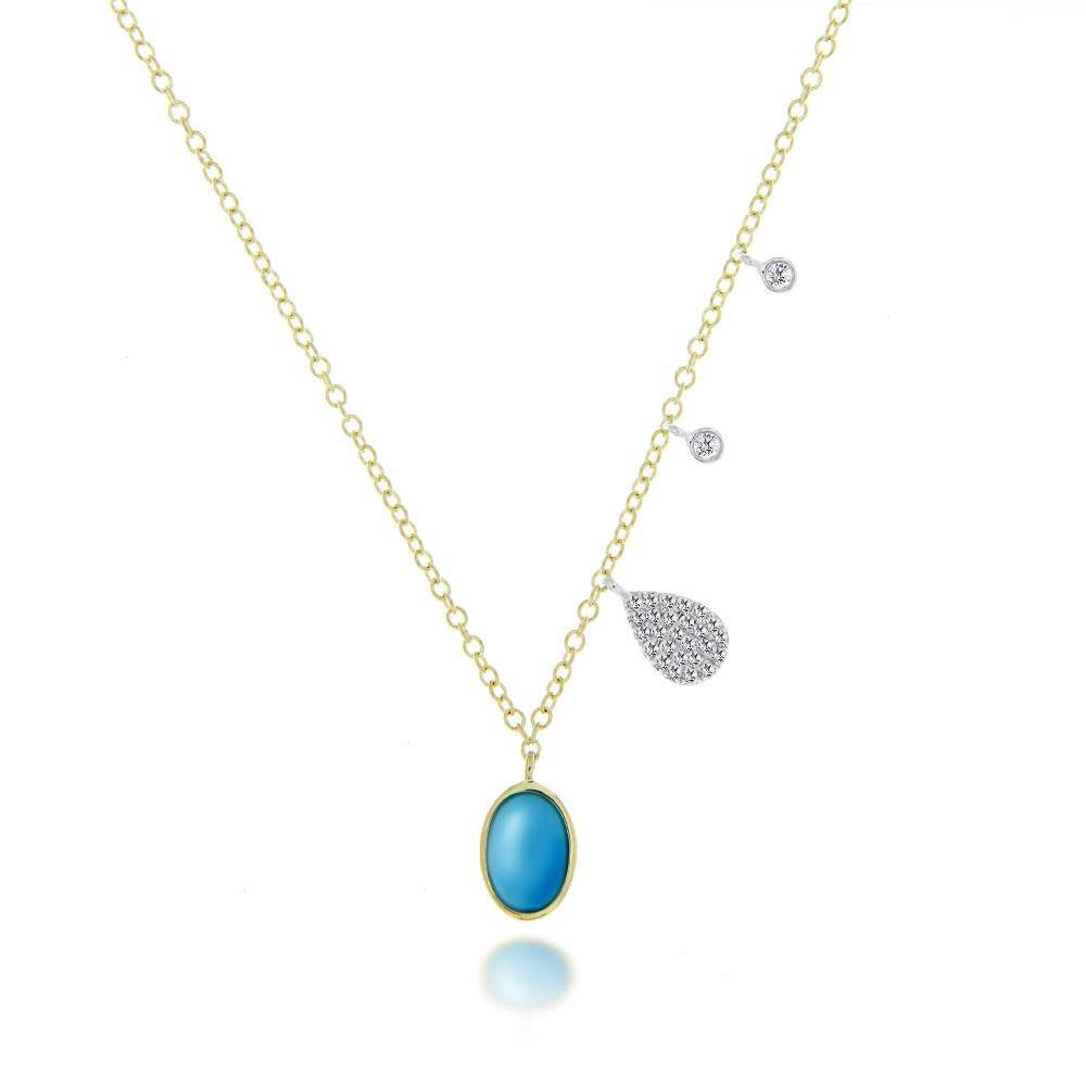 Round Turquoise Charm Necklace