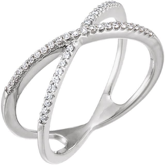 Stuller 14kt gold criss cross diamond band