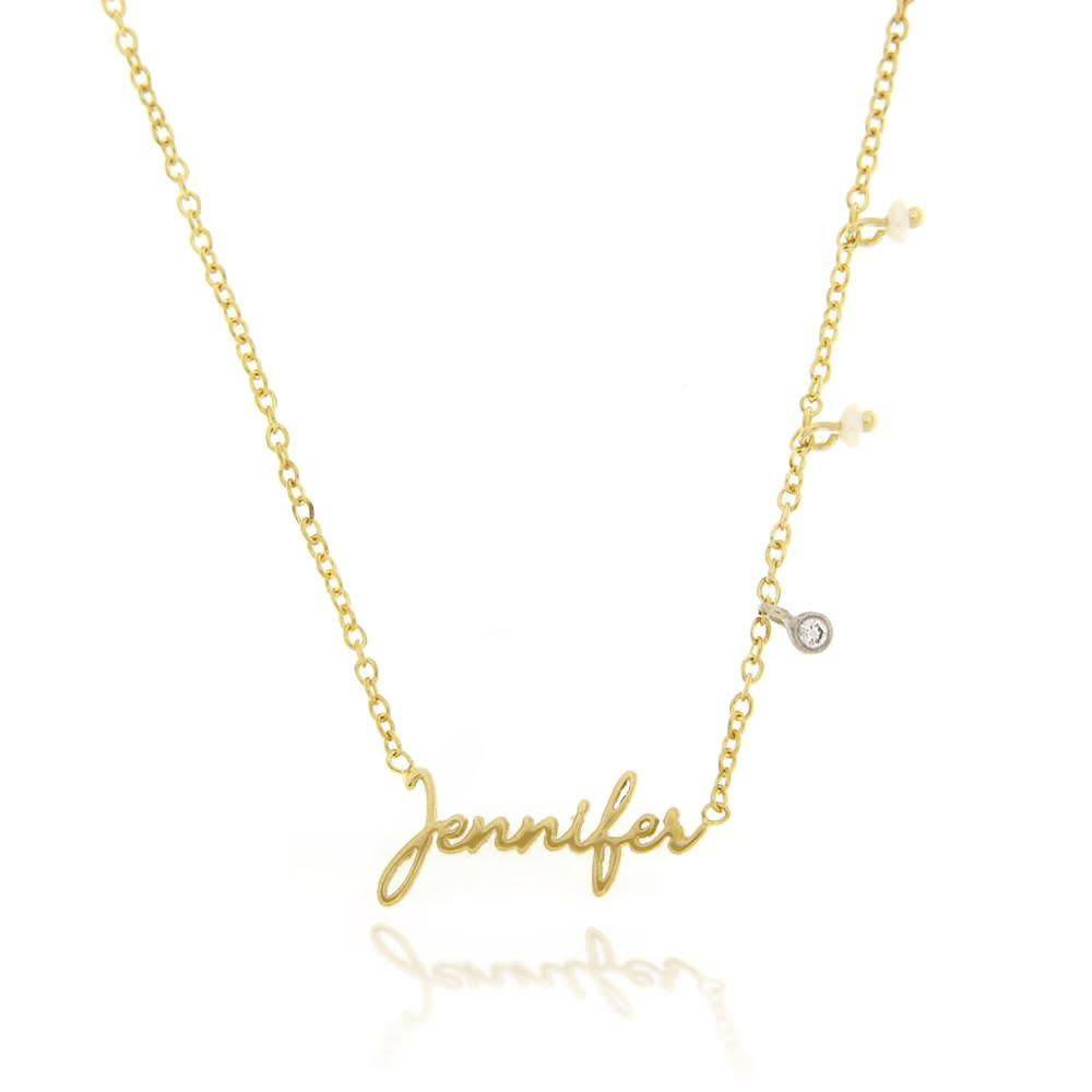 Meira T N10136 gold script name necklace