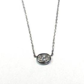 Oval Diamond Bezel Necklace