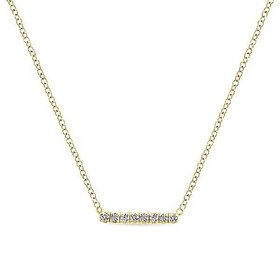 Gold Petite Pave Diamond Bar Necklace