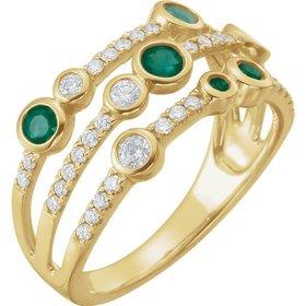 Emerald & Diamond Multi Row Ring