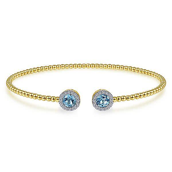 BG4245 Swiss Blue Topaz & Diamond Yellow Gold Bangle