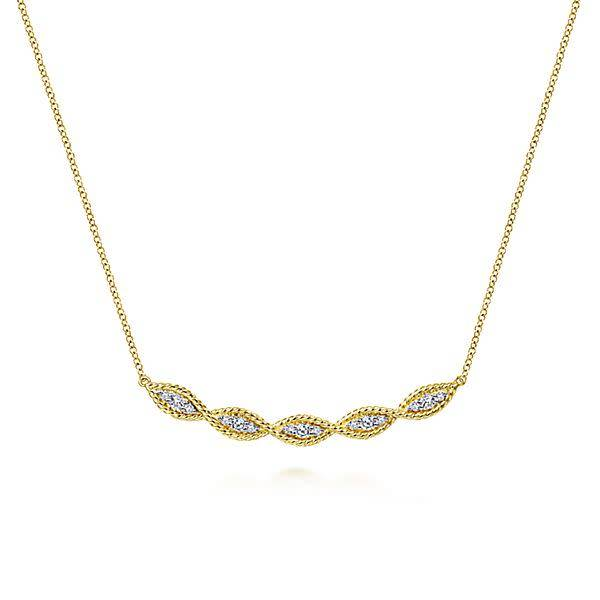 14kt Yellow Gold Twisted Curved Diamond Bar Necklace