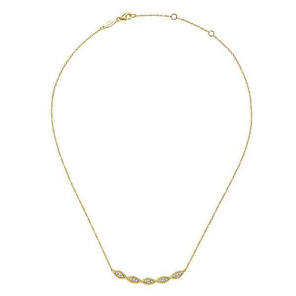 Gabriel & Co 14kt Yellow Gold Twisted Curved Diamond Bar Necklace