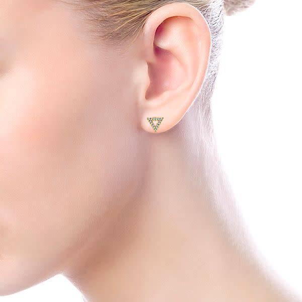 Gabriel & Co 14kt Gold Triangle Diamond Stud Earrings
