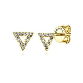 14kt Gold Triangle Diamond Stud Earrings