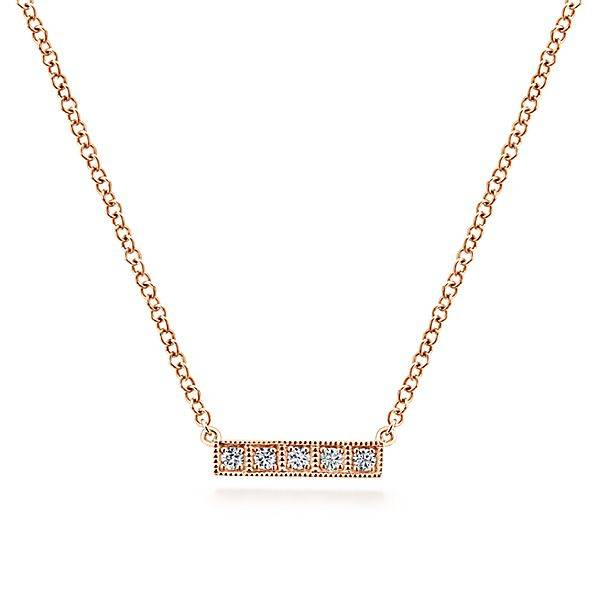 Gabriel & Co 14kt Gold Milgrain Diamond Bar Necklace