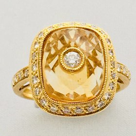 18kt Yellow Citrine & Diamond Ring