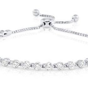 B2040 Prong Set Diamond Bolo Bracelet