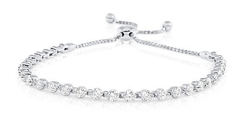 B2040 Prong Set Diamond Bolo Bracelet