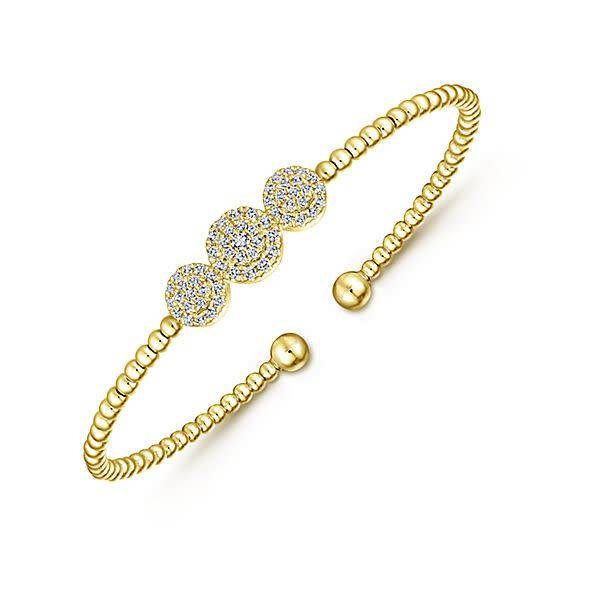 Gabriel & Co BG4114 Gold Cluster Diamond Bangle