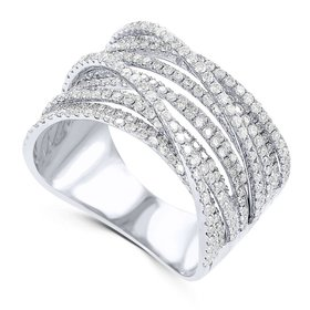CR967  14kt Gold Multi Row Diamond Band