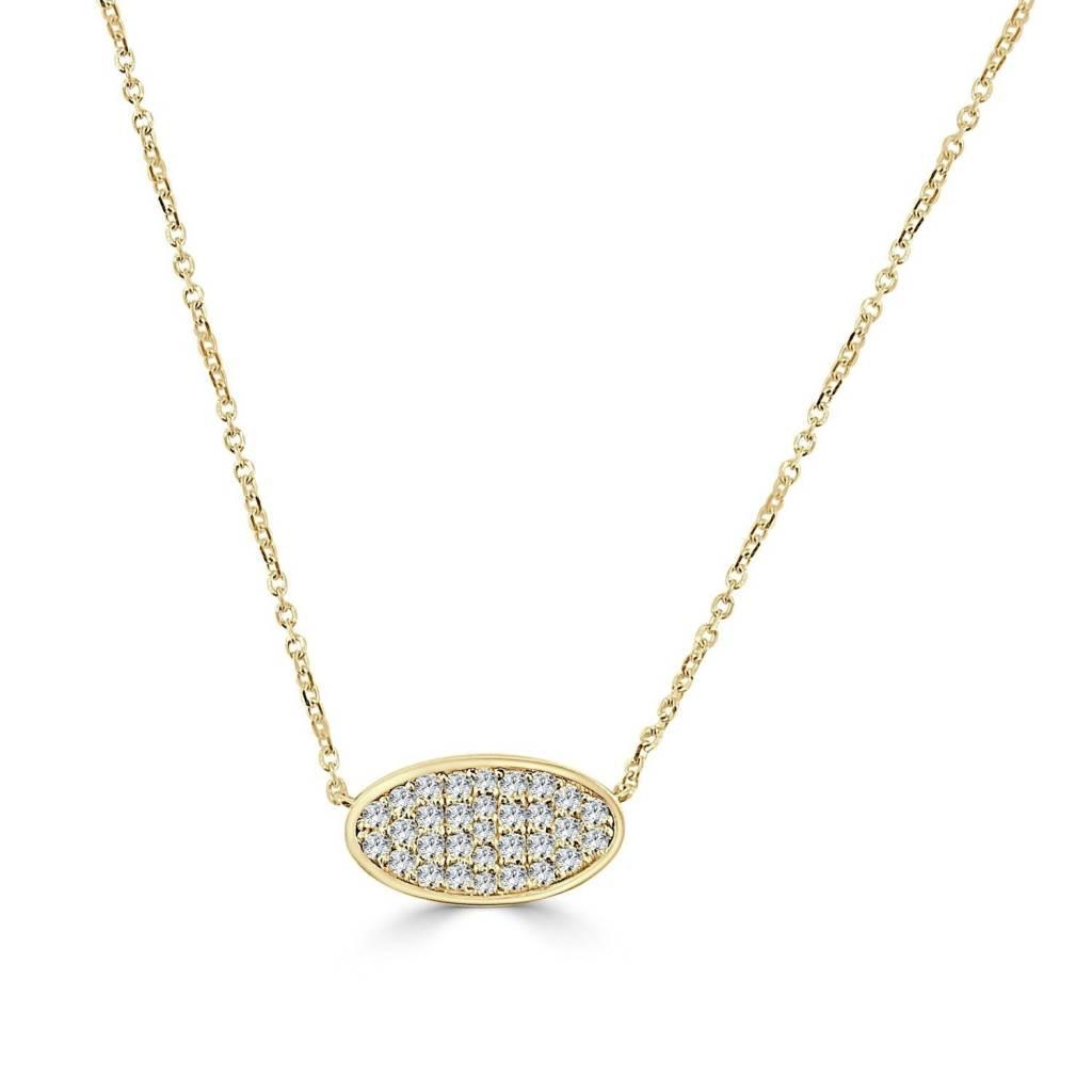Sabrina N248 Pave Oval Diamond Necklace