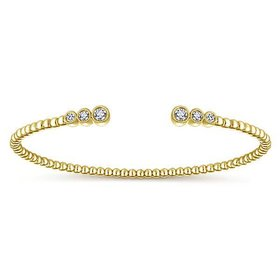 BG4120 14kt gold bezel diamond open bracelet