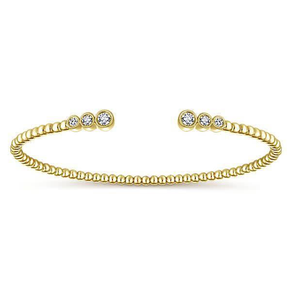 BG4120 14kt gold bezel diamond open bracelet