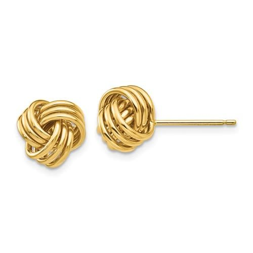 Q Gold Yellow gold triple knot stud earrings