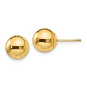 14kt yellow gold 8mm ball stud earrings