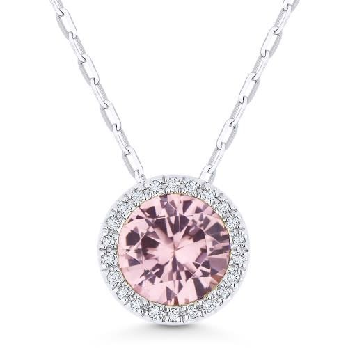 Madison L N1041MGW Morganite and Diamond Halo Necklace