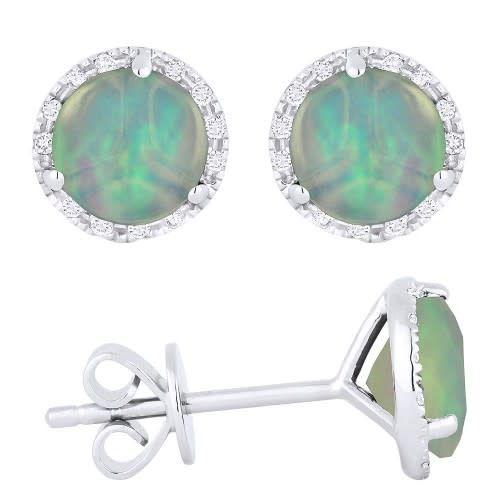 E1023OPW Opal & Diamond Halo Stud Earrings